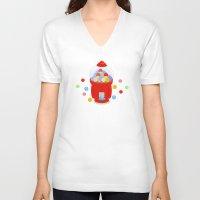 gumball V-neck T-shirts featuring Gumball Machine by elledeegee