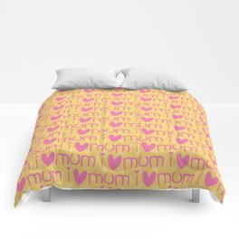Pink yellow hand painted watercolor I love mum typography Comforters