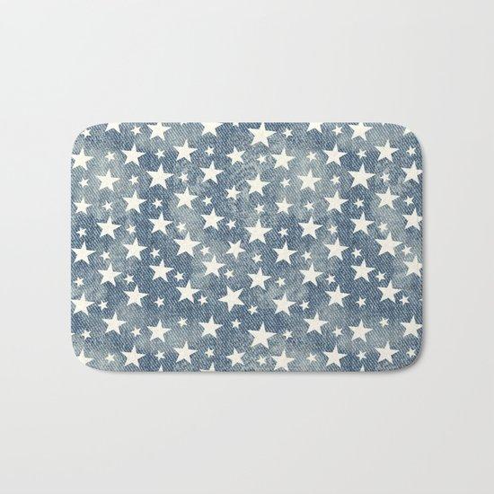 Stars with denim effect Bath Mat