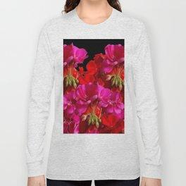 Red & Fuchsia Geranium flowers Long Sleeve T-shirt