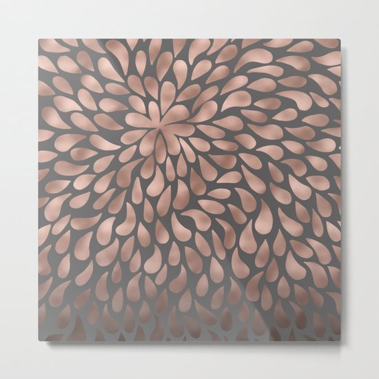 Rosegold- abstract floral elegant pattern on grey background Metal Print