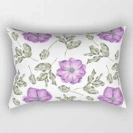 Chic Purple Anemone Flower Pattern Rectangular Pillow