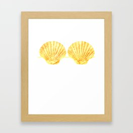 Mermaid Seashell Bra Gold Funny Shell Brassiere Framed Art Print