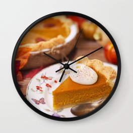 II - Homemade pumpkin pie on a rustic table with autumn decorations Wall Clock