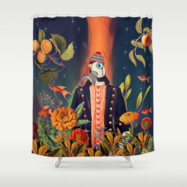 Floral Puffin Shower Curtain