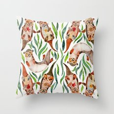 Five Otters – Green Seaweed Throw Pillow