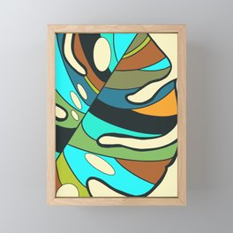 Monstera leaf painting Framed Mini Art Print