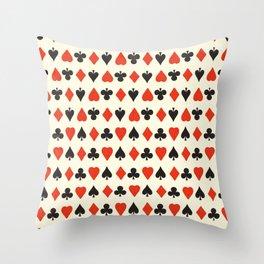 Spade, club, diamond, heart - vintage cards illustration pattern Throw Pillow