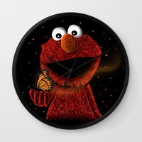 elmo Wall Clocks featuring Elmo and Little Butterfly by Fathi