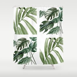 Greenery Squares Watercolor Painting Shower Curtain