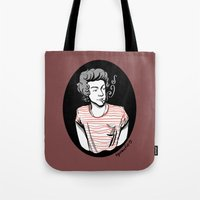 smoking Tote Bags featuring Smoking by LePomiere