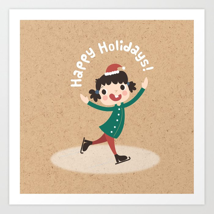 Holiday Ice Skating Art Print