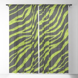 Ripped SpaceTime Stripes - Lime Yellow Sheer Curtain