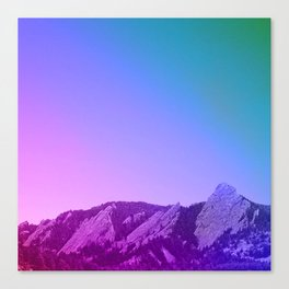 Boulder Colorado Flatirons Decor \\ Chautauqua Park Purple Pink Blue Green Nature Bohemian Style Art Canvas Print