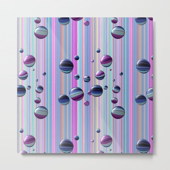 Сolored bubbles and stripes Metal Print
