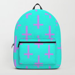 Purple and Blue Inverted Cross Pattern Backpack