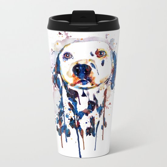 Dalmatian Head Watercolor Portrait Metal Travel Mug