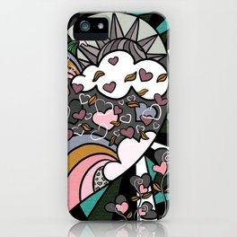 Valentine's Rainbows in Aqua, Pink & Grey iPhone Case