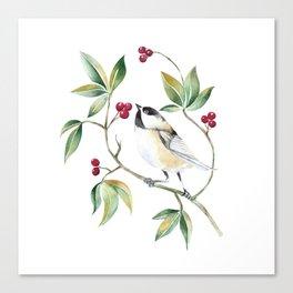 Chickadee on a tree! Canvas Print