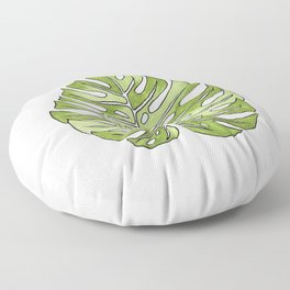 Monstera Leaf Copic Marker and Ink Drawing Floor Pillow