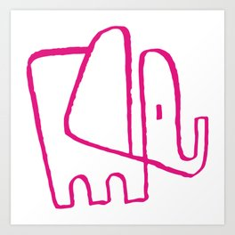 Pink Elephant One Line Art Print