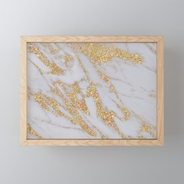 Pink + Gold Glitter Marble Framed Mini Art Print