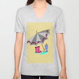The Beauty of A Rainy Day with Beige Background Unisex V-Neck