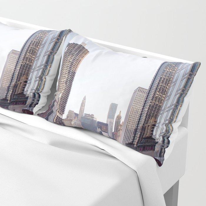 Chicago River Skyline Pillow Sham