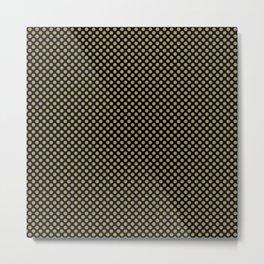 Black and Khaki Polka Dots Metal Print