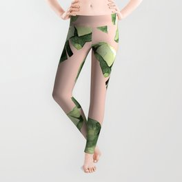 Banana Leaves 2 Green And Pink Leggings