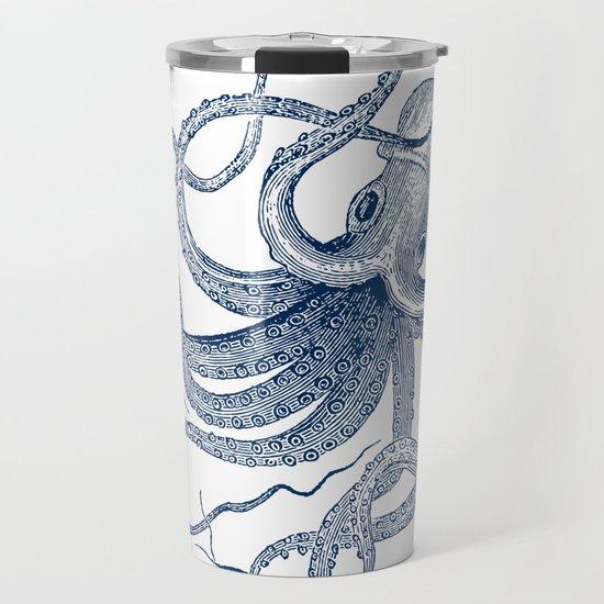 Blue nautical vintage octopus illustration by artonwear