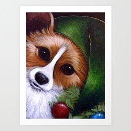 HOLIDAY WELSH CORGI DOG - LITTLE ELF Art Print