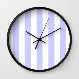 Lavender blue - solid color - white vertical lines pattern Wall Clock