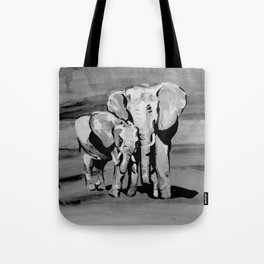 Black and white mother and baby elephant Tote Bag