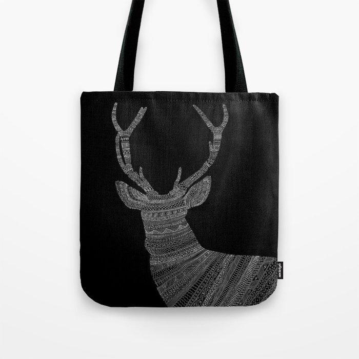 Stag / Deer (On Black) Tote Bag