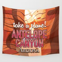 travel poster Wall Tapestries featuring Antelope Canyon Arizona travel poster by Nick's Emporium Gallery