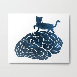 Cat and brain Metal Print