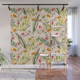 Pattern leaf and flowers II Wall Mural