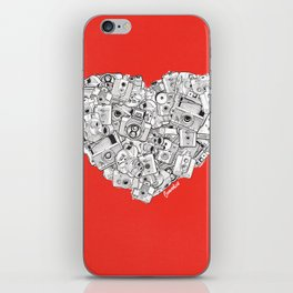 Camera Heart - on red iPhone Skin