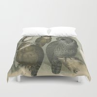 owls Duvet Covers featuring Owls by Connie Goldman