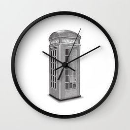 Classic London Red Telephone Booth Wall Clock