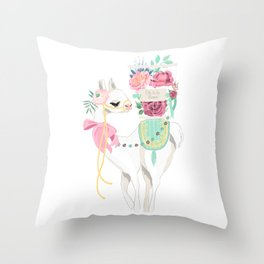 Llama & Florals Throw Pillow
