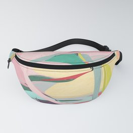 Shapes and Layers no.23 - Abstract Draper pink, green, blue, yellow Fanny Pack
