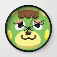 animal crossing Wall Clocks featuring Animal Crossing Charlise by ZiggyPasta