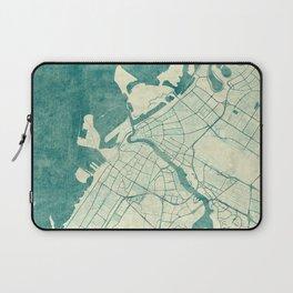 Dubai Map Blue Vintage Laptop Sleeve
