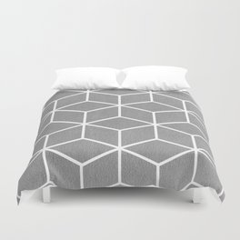 Light Grey and White - Geometric Textured Cube Design Duvet Cover