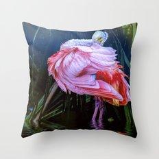 Spoonbill Fandance Throw Pillow
