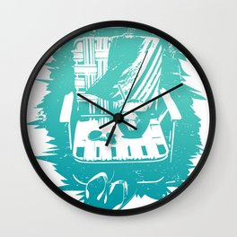 Relaxing on a beach in Maui, Hawaii Wall Clock