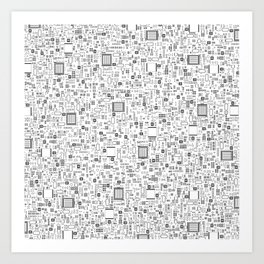 All Tech Line / Highly detailed computer circuit board pattern Art Print