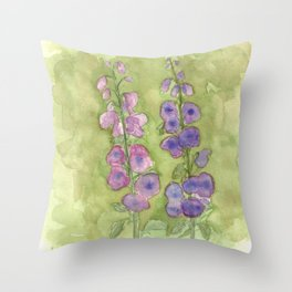 Hollyhock Foxglove Watercolor Muted Tones Throw Pillow